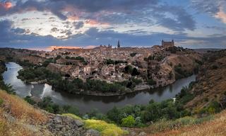 Toledo panorama at dusk, Castile-La Mancha, Spain