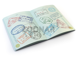 Opened passport with visa stamps on the  pages isolated on white.