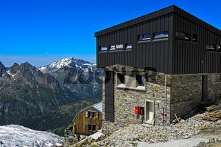 Die modernisierte Schutzhütte Refuge Albert 1er, Chamonix, Savoyen, Frankreich