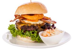 Delicious egg and bacon cheeseburger