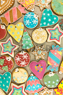 colorful decorated christmas gingerbread cookies