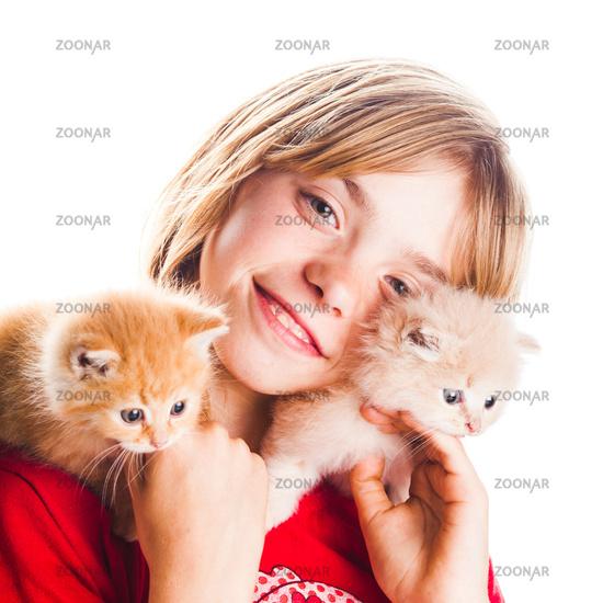 Girl and kittens