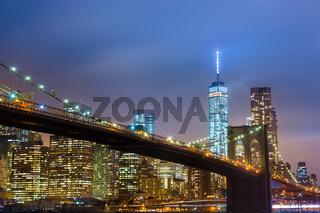 Brooklyn bridge at dusk, New York City.