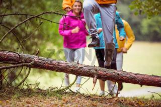 Friends having fun on a hike