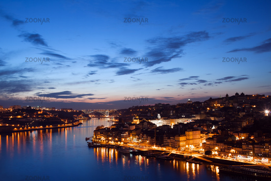 City of Porto in Portugal at Twilight