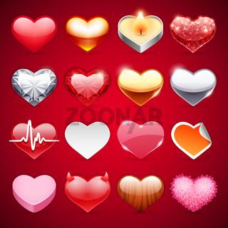 Vector Icons Hearts Set