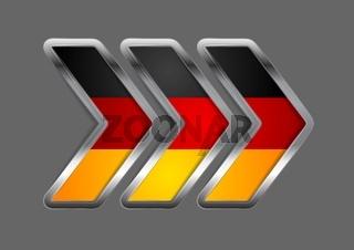 Abstract vector metallic arrow. German colors