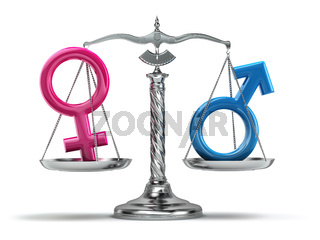 Gender equality concept. Male and female signs on the scales isolated on white.