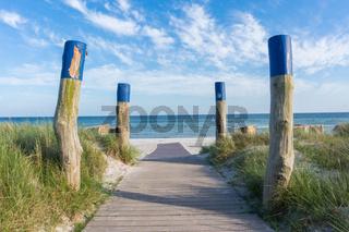 wooden path at baltic sea