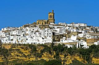 Weisses Dorf Arcos de la Frontera, Andalusien