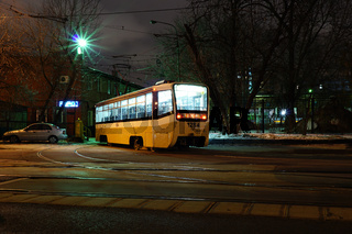 Moscow night tram returns to the depot