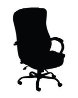 Silhouette of turning leather office chair isolated