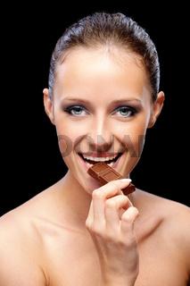 Woman with chocolate bar