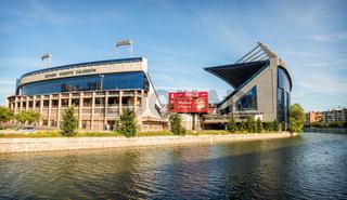MADRID, JULY 1, 2014: Vicente Calderon stadium, home of Atletico de madrid. In Madrid, Spain on July 1, 2014.