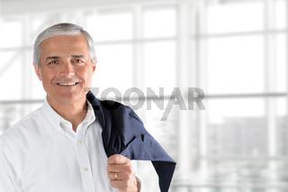 Senior Businessman Jacket Over Shoulder