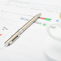 Coffee cup and pen over financial charts