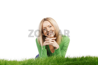 Happy woman on grass