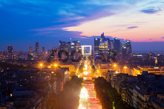 La Defense and Champs-Elysees at sunset in Paris, France.