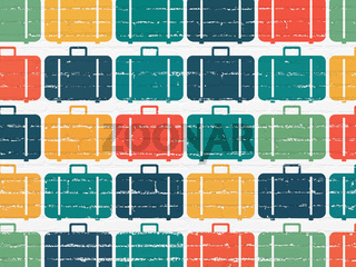 Travel concept: multicolor Bag icons on wall background