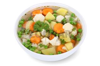 Gemüsesuppe Gemüse Suppe in Suppenschüssel Freisteller