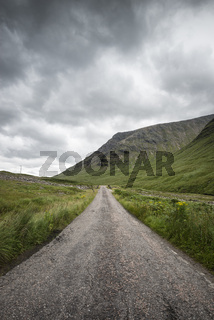 Single Track Road im Glen Etive
