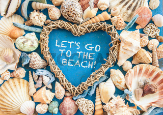 Weathered wooden background with sea shells