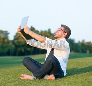 Freelancer making selfies