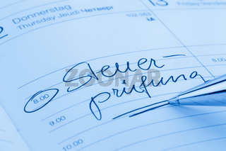 Eintrag im Kalender: Steuerprüfung