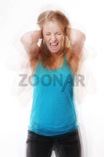 screaming woman in a frenzy