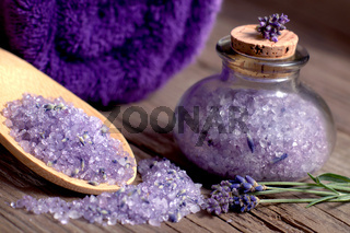 Spa still life with lavender bath salt and towel