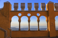 Pena castle yellow arch at sunset in Sintra