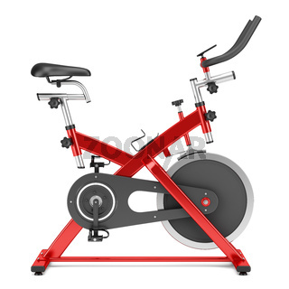 stationary exercise bike isolated on white background