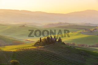 Bauernhaus der Toskana Sonnenaufgang