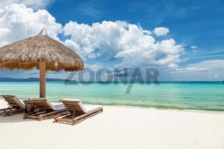 Deck chairs on a beautiful beach in Boracay