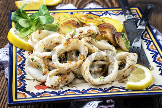 Fried Squid Rings with Potatoes