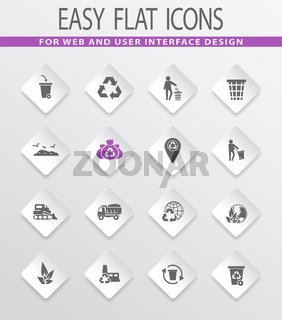 Garbage and recycling industry icons set