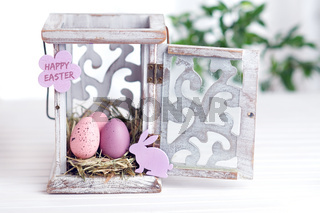 Decorative Easter nest with lettering Happy Easter
