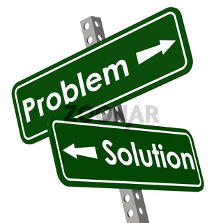 Problem and solution road sign in green color