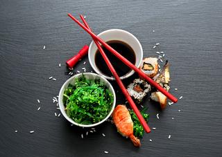 Seaweed salad and sushi