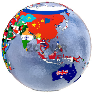 Political Asia and Australia map