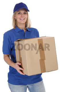 Paket Versand Postbote Frau Post Lieferung liefern Paketzusteller Paketdienst Beruf Freisteller