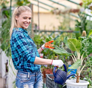 happy female gardener