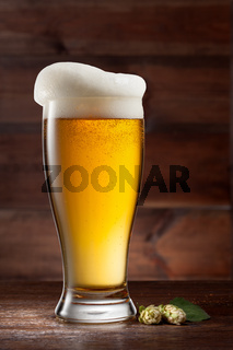 Glass of beer on wood with hop