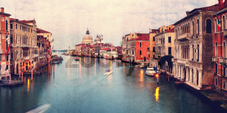 Retro style image of Grand canal at sunset