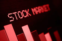 Stock Market - Column Going Down on Blue Display
