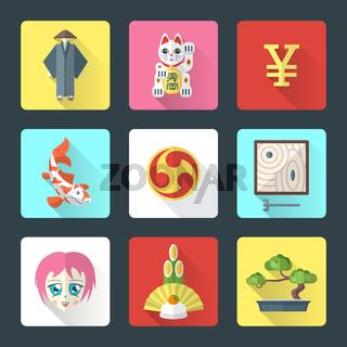 japan theme flat style icons set