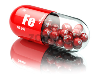 Pills with iron FE element Dietary supplements. Vitamin capsules.