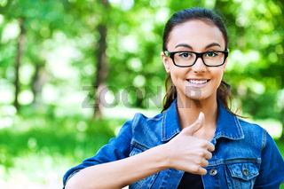 portrait smiling girl glasses