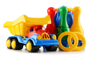 Composition with colorful plastic children toys isolated on white