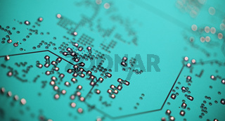 Green Circuit Board, Microchip. Computerchip